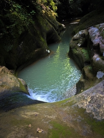 Chilly blue water hole in the Hocking Hills Ohio