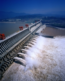 Chinas Three Gorges Dam m long discharging a torrent of water