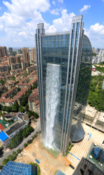 Chinese Build Unbelievable ft Waterfall On A Skyscraper in Shangai
