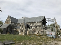 ChristChurch Cathedral in Christchurch New Zealand damaged by earthquake and abandoned  Nov