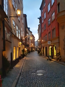 Christmas decorations in Old Town Stockholm
