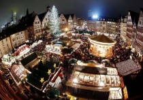Christmas Market on Roemerberg Square in Frankfurt Germany