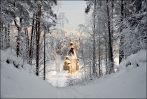 Church on a frozen lake in Vuoksa Russia