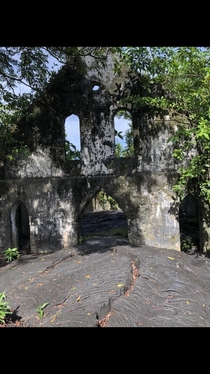 Church swamped by lava from Mt Matavanu Samoa Abandoned