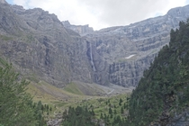 Cirque de Gavarnie surrounded by cliffs that are thousands of feet tall and the tallest waterfall in France