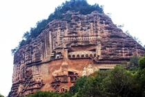 City built into a cliffside - Maijishan Grottoes Gansu China
