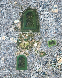 City of Sakai in Japans Osaka Prefecture The keyhole shaped areas are called tumuli - each is a mound of earth or stone raised over a grave with the largest one being the final resting place of Emperor Nintoku