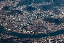 City surrounded by mountains downtown Seoul South Korea