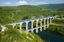 CizeBolozon Viaduct France -- double-decker roadrail bridge