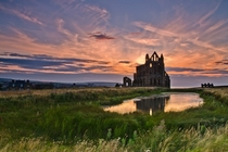 Classic Sunset At Whitby Abbey North Yorkshire England  Photo by Paul Downing