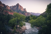 Classic view of Zion National Park
