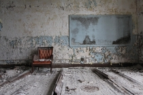 Classroom in an abandoned elementary school