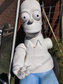 Cleaning a house from a tenant that was evicted She had abandoned her life sized Homer Simpson