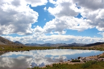 Clear glassy Independence Lake resting among the alpine tundra of the Colorado Rockies