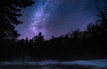 Clear night over the Swift River in White Mountains Natl Forest NH