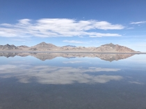 Clear skies and perfect reflection at Bonneville Salt Flats Utah