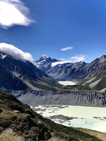 Clear views of Aoraki Mt Cook from Sealy Tarns South Island NZ