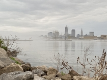 Cleveland cityscape on a foggy day