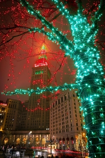 Cleveland Ohio lit up for Christmas
