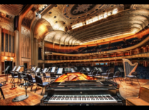 Cleveland Orchestras Severance Hall main hall interior design by Walker amp Weeks  interior includes elements of Art Deco Egyptian Revival silvery aluminum leaf ceiling based on  century English point lace Seats  Includes rare original E M Skinner pipe or