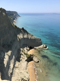 Cliffs and caves in Corfu Greece