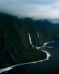 Cliffs of Molokaii from a helicopter