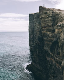 Cliffs of Sorvagsvatn in Faroe Islands
