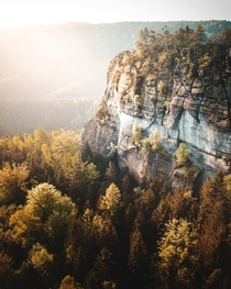 Cliffs of the Elbe Sandstone Mountains in Saxony Germany