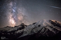 Climbers on Mount Rainier at night