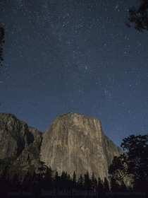 Climbers settling in for the night on El Capitan in Yosemite National Park Moonlight and stars