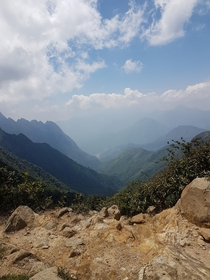 Climbing the roof on Indochina nearing the peak of Mt Phan Xi Pan   x