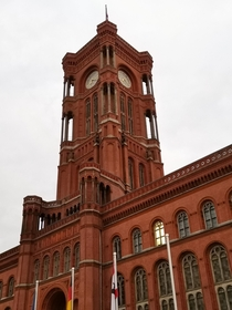 Clock tower of the Rotes Rathaus Red City Hall in Berlin designed by Hermann Friedrich Waesemann