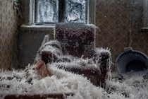 CLOSE-UP Needle ice overtakes an apartment in Yekaterinburg Russia Anastasia Popelka