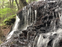 Close up of a trickling waterfall in Sunderland MA
