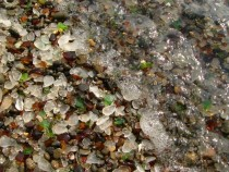 Close-Up of a Wave On The Glass Beach in Ft Bragg CA Photo by Jef Poskanzer