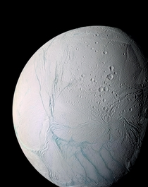 Close-up of Saturns most interesting moon Enceladus