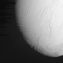 Close View of Saturns Moon Enceladus From Oct  Flyby