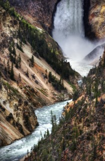 Closeup of a waterfall in Yellowstone