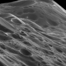 Closeup of  km high mountains on Iapetus Saturns rd largest moon x