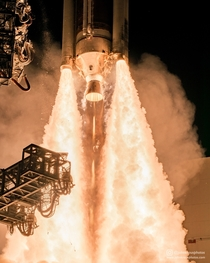 Closeup of the RS-A engine and four GEM- solid rocket boosters on the Delta IV Medium  rocket