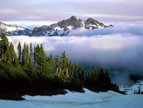 Cloud cover of Mount Rainier Washington