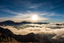 Cloud inversion in Tatra Mountains Poland