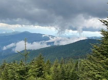 Clouds converging around Clingmans Dome x