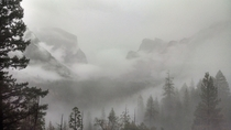 Clouds covering Yosemite valley