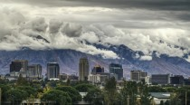 Clouds draping over mountains Salt Lake City Utah