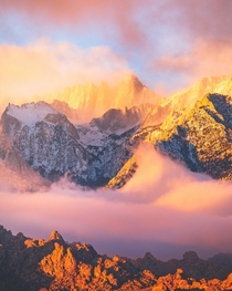Clouds floating around Mt Whitney CA at sunrise
