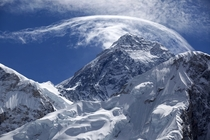 Clouds flowing over Mount Everest -
