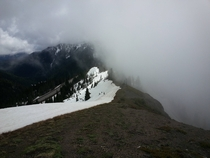 Clouds flowing over the mountain at Hurricane Ridge WA