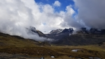 Clouds forming in the high Andes mountains Peru