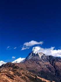 Clouds hovering over mardi himal on the way to mardi base campannapurna trekking region kaskinepal